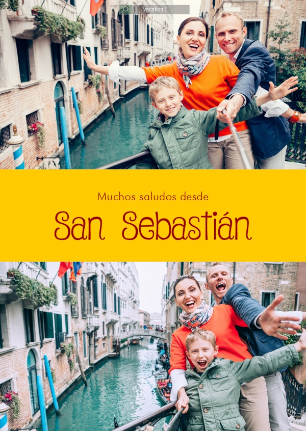 San Sebastián Spanish greetings in country-typical colouring & fonts