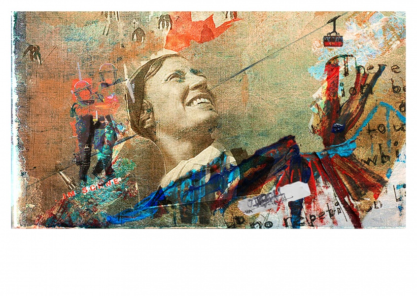 Collage by Belrost with woman, cable car and policemen