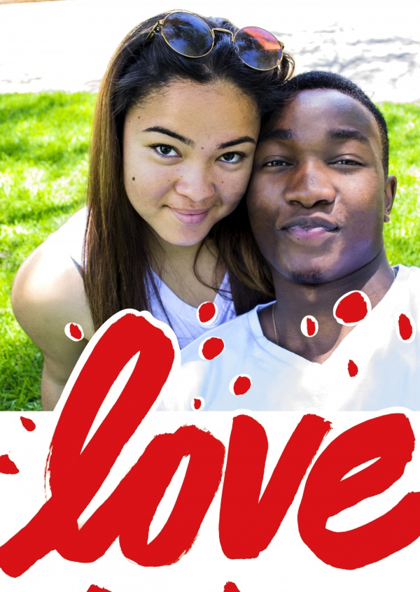 Love in huge red and bold hand lettering
