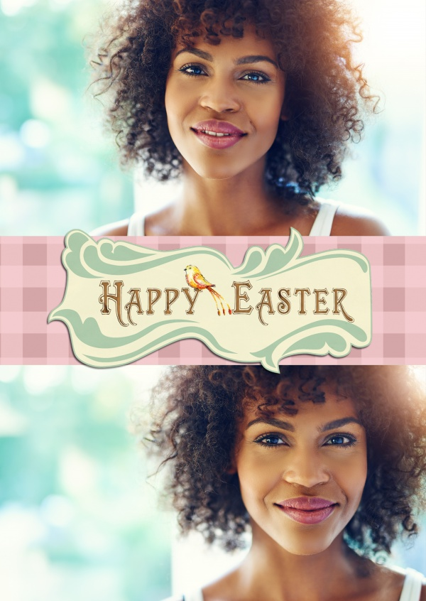 vintage Easter logo with bird and ckecked pattern