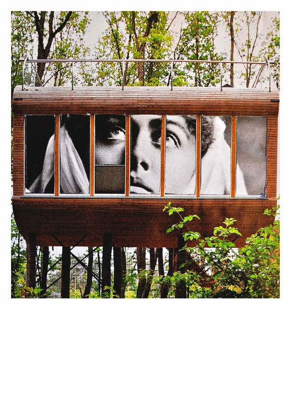 Collage by Belrost with Saint in wood house