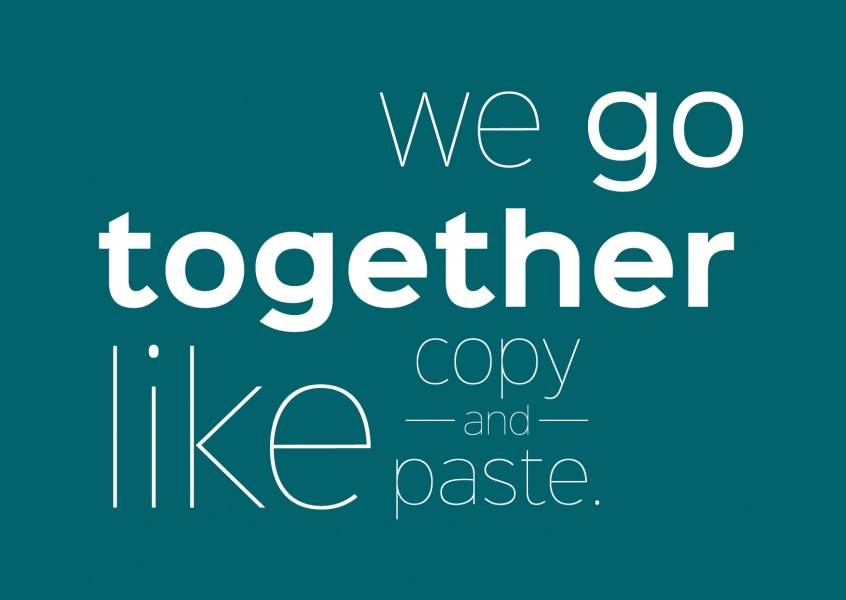 spruch postkarte we go together like copy and paste