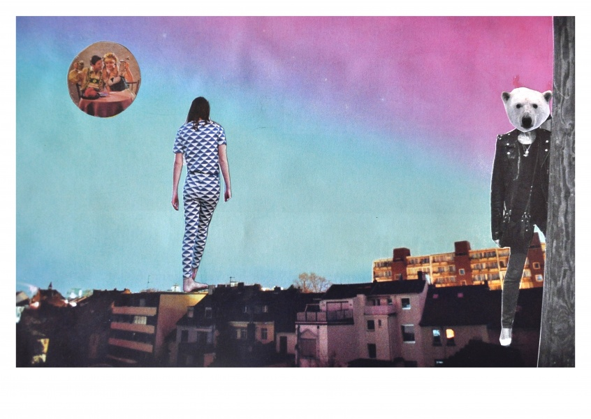 collage by belrost with houses, woman and bear