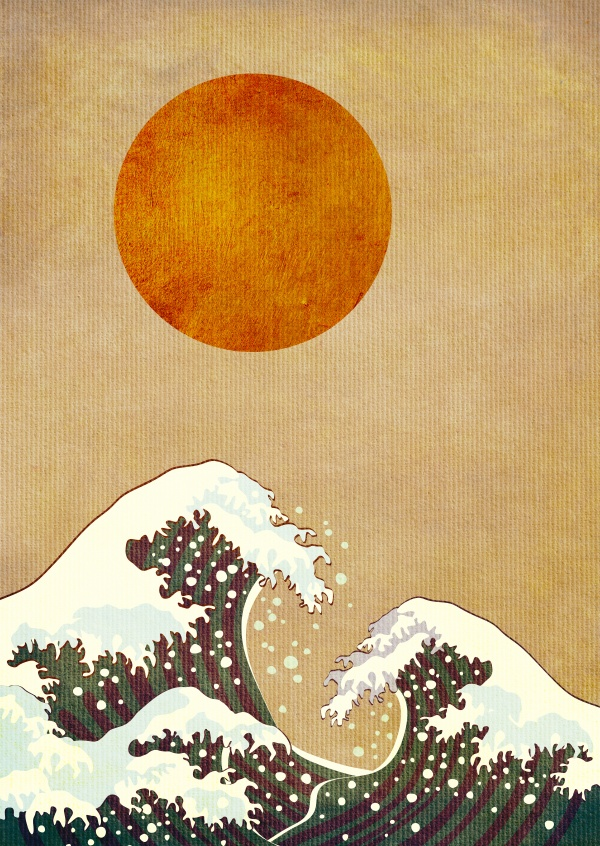 Kubistika  copy of Hokusai's wave under red sund