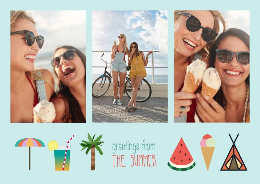 template with summer graphics on a blue background