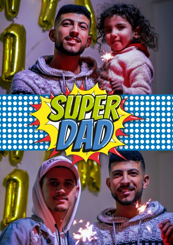 Super dad Superhelden Logo Pop art Style in rotm gelb und blau