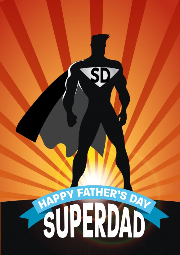 Superdad silhouette and striped background