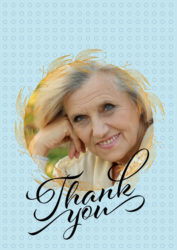 Personalize Thank you card with golden circle and handwriten thank you