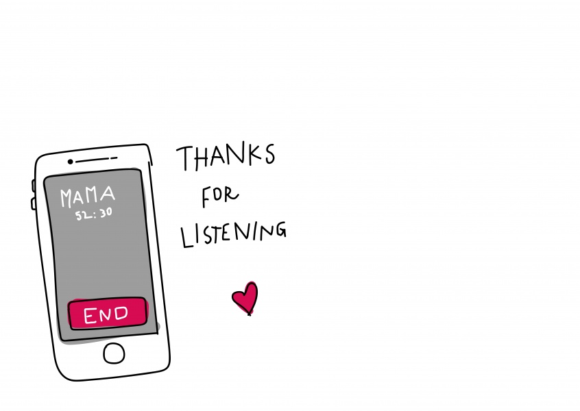 thanks for listening with mobile phone and white background