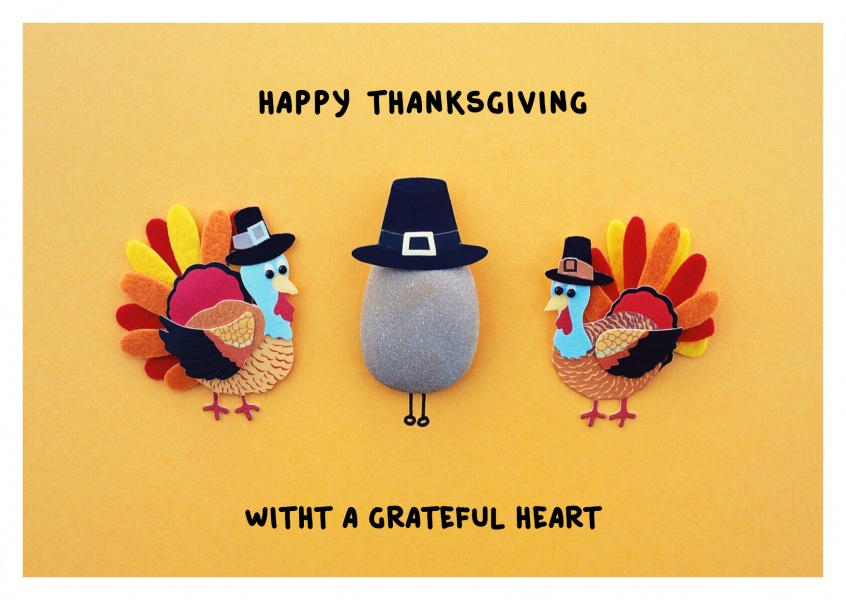 Illustration Thankgsgiving turkeys, pilgrim hat