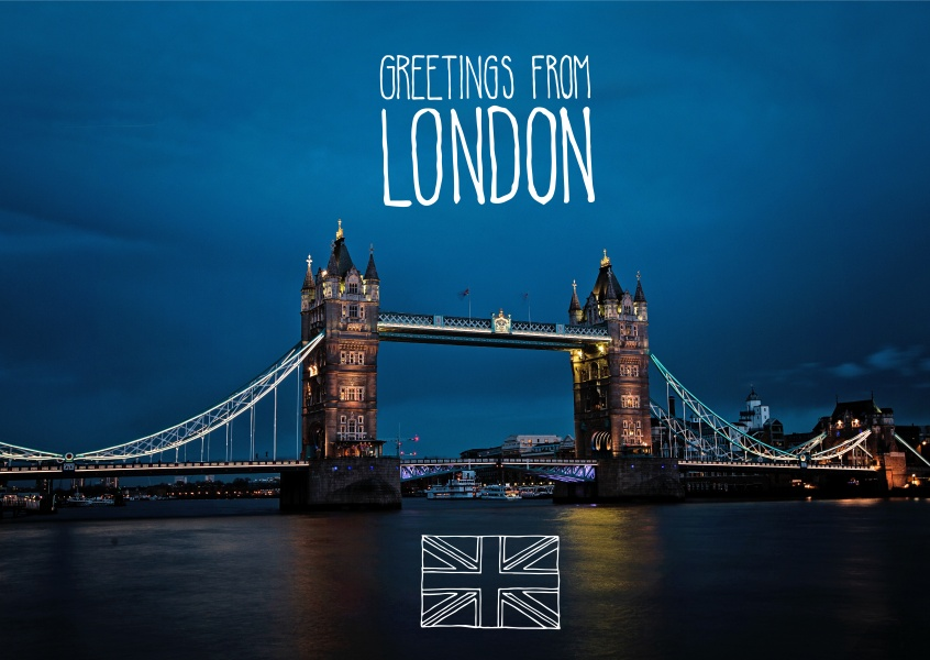 greetingcard with a photo of the towerbridge