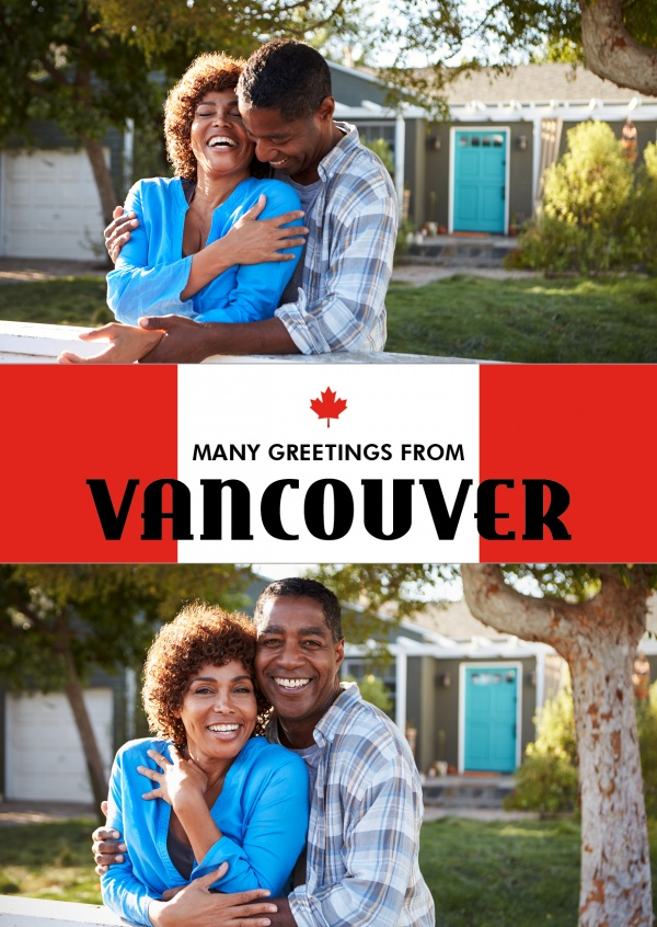Vancouver greetings red white with maple leaf