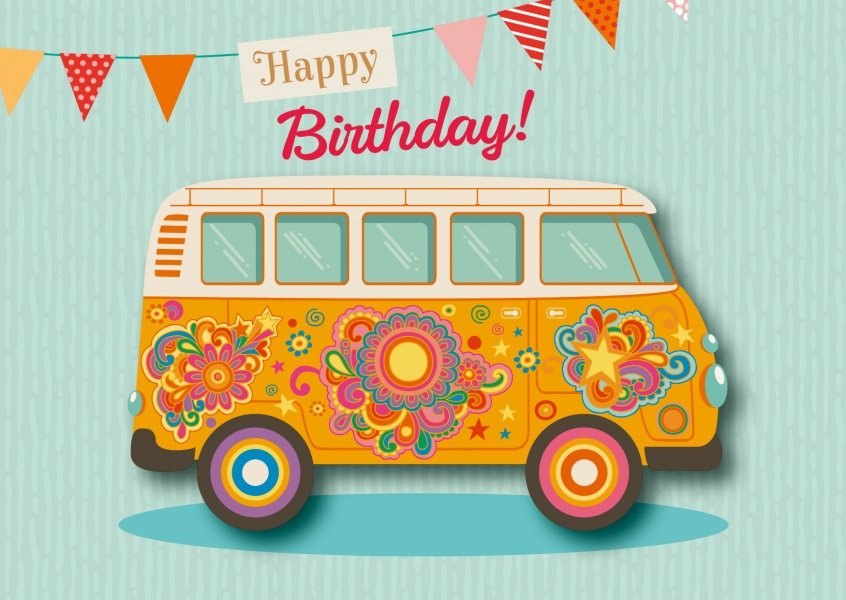 Colorful hippie car VW Bus happy birthday Banner postcard greeting card