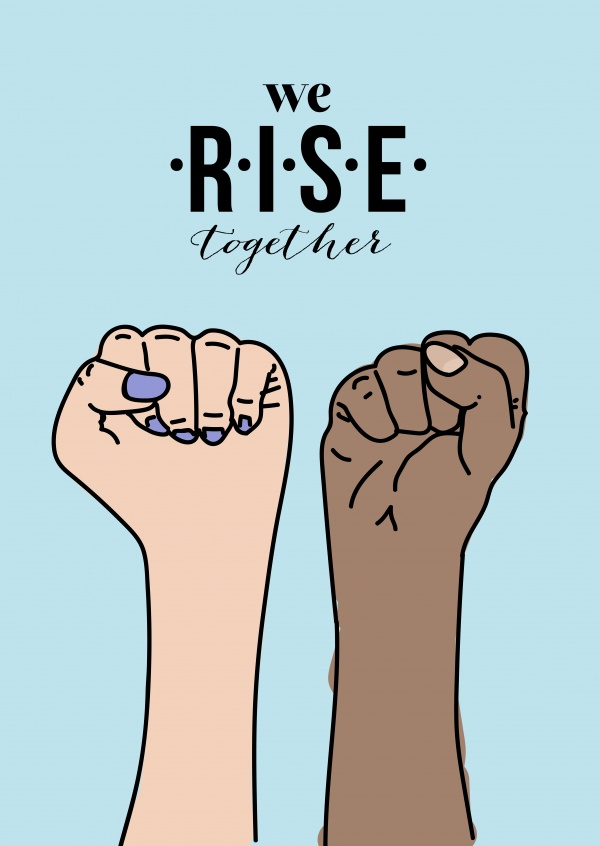 blue card with two fists we rise together