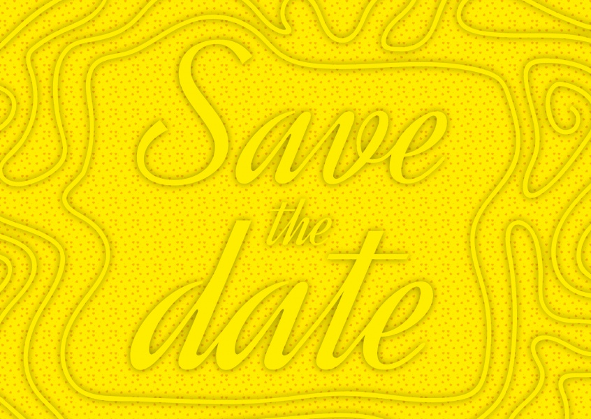 Yellow invitation greeting card save the date