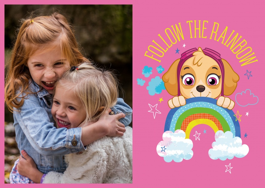 PAW Patrol Postkarte Follow the rainbow