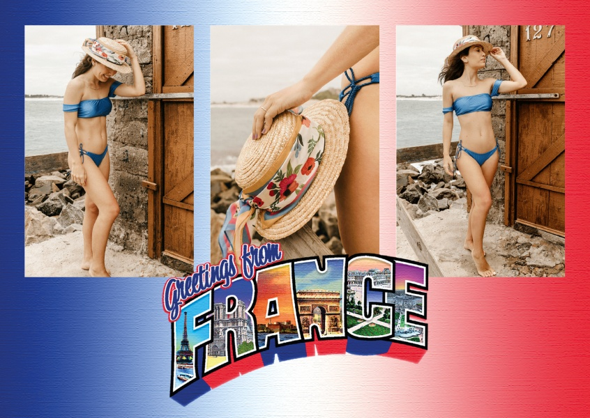 Large Letter Postcard Site Greetings from France