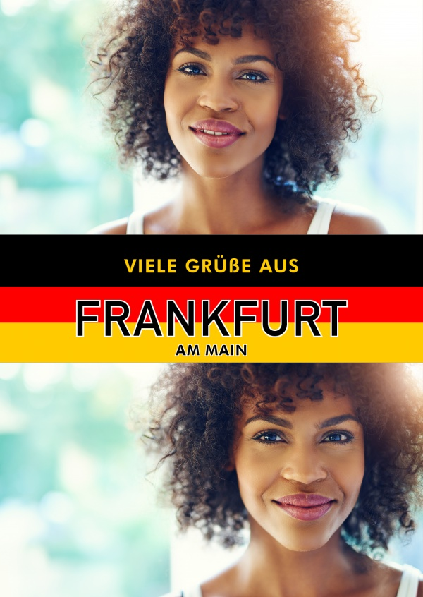 Frankfurt/Main greetings in German flag design