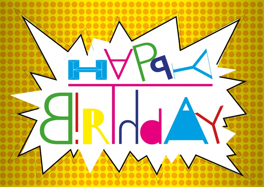 crazy design postkarte happy birthday grusskarte