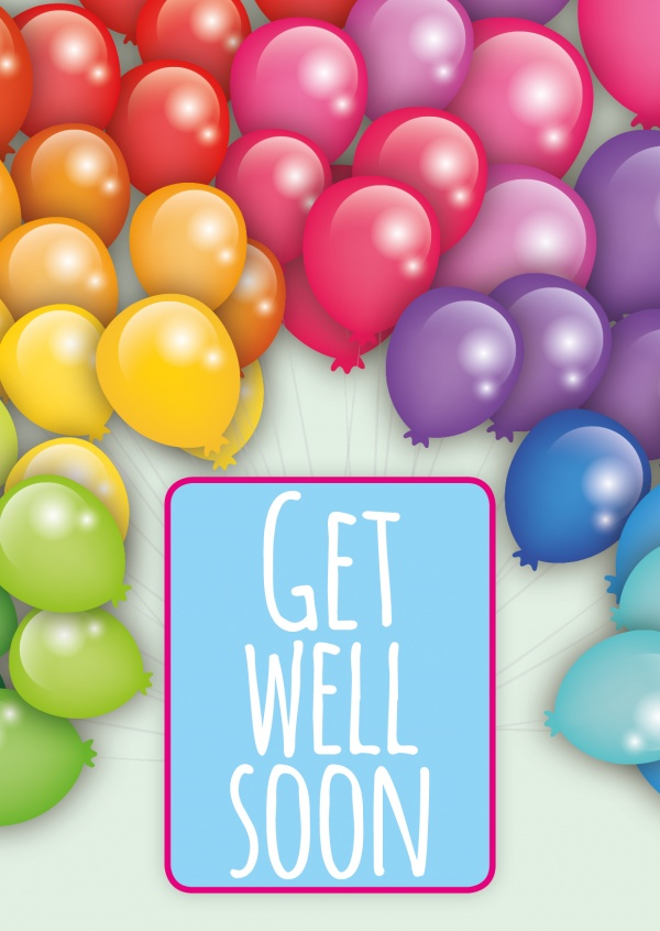 colorful balloons postcard motive get well soon