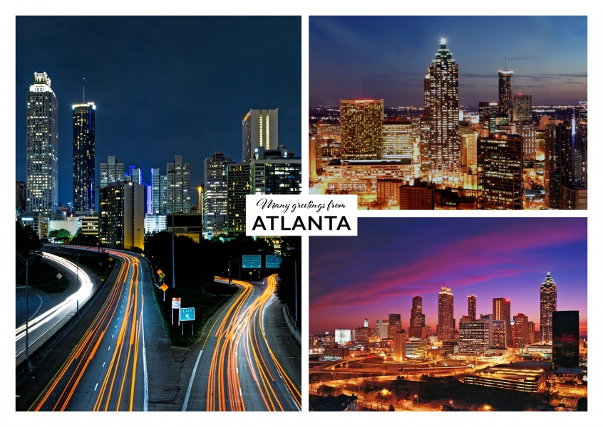 Atlanta's verspertine impressions and evening rush hour traffic