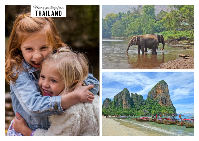 two photos of Thailand with beach and Thais with elephant