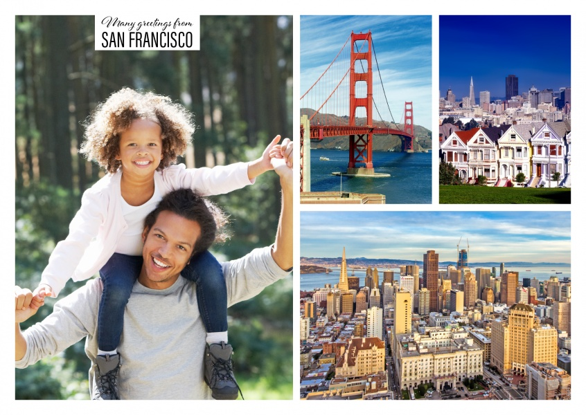 three photos of San Francisco with Golden Gate Bridge and citylife