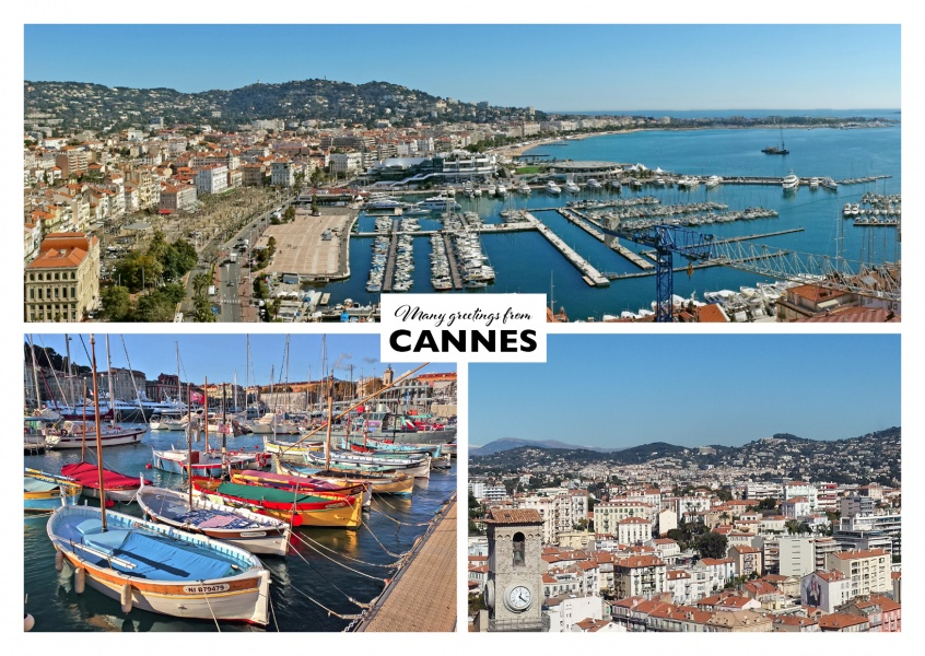 three photos of an harbour and beach landscape in Cannes