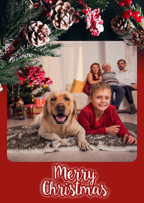 Red Christmas Template with Advent wreath and lettering Merry Christmas photo card