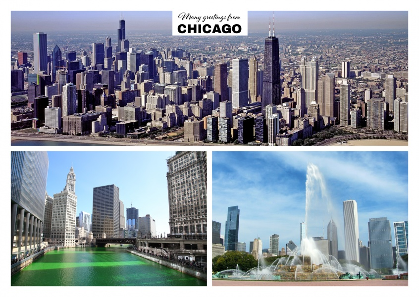 Chicago's city architecture. traffic and Buckingham Fountain