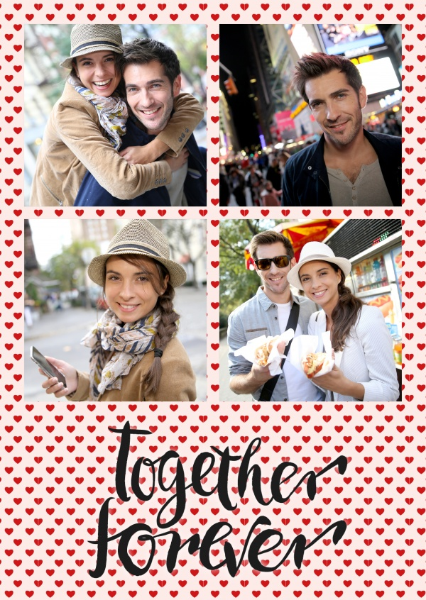 Love card with hearts and together forever - lettering in four photos- template