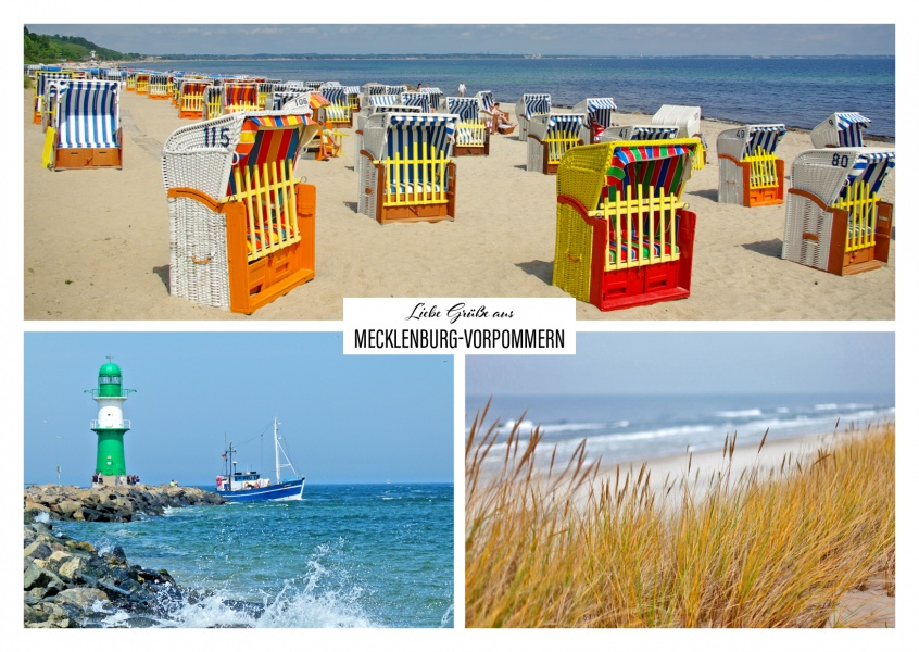 Mecklenburg's beach and coast with lighthouse and beach chair