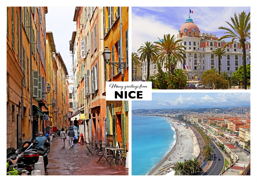 The architecture of Nice and the bay of angels