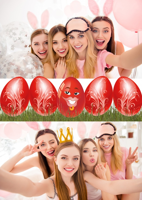 graphic red easter egg with kiss lips