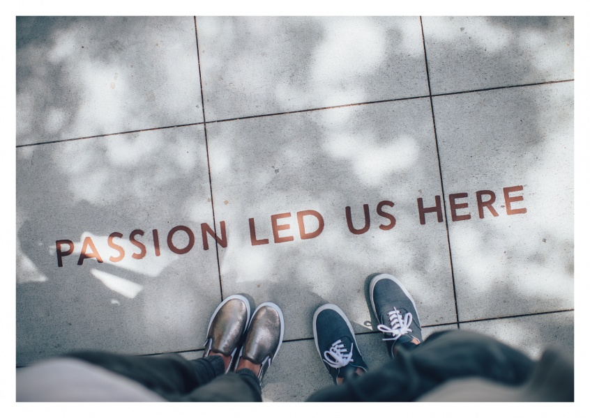 Photo shoes quote on pavement