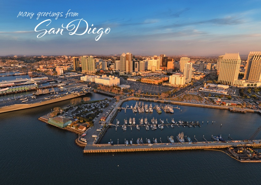 Bay of San Diego and skyline in evening light