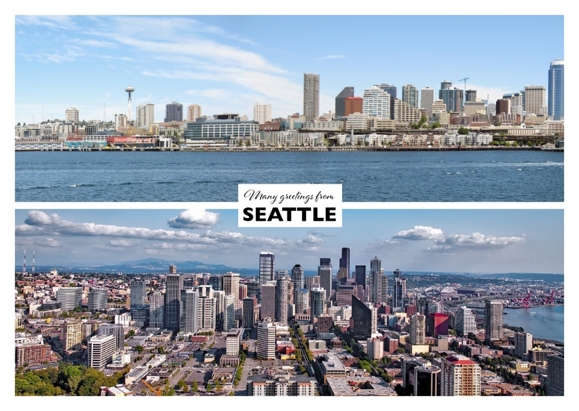 two panorama views on Seattle and Space needle