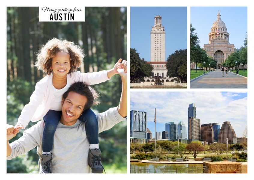 three photos of Austin's city skyline with Main Building