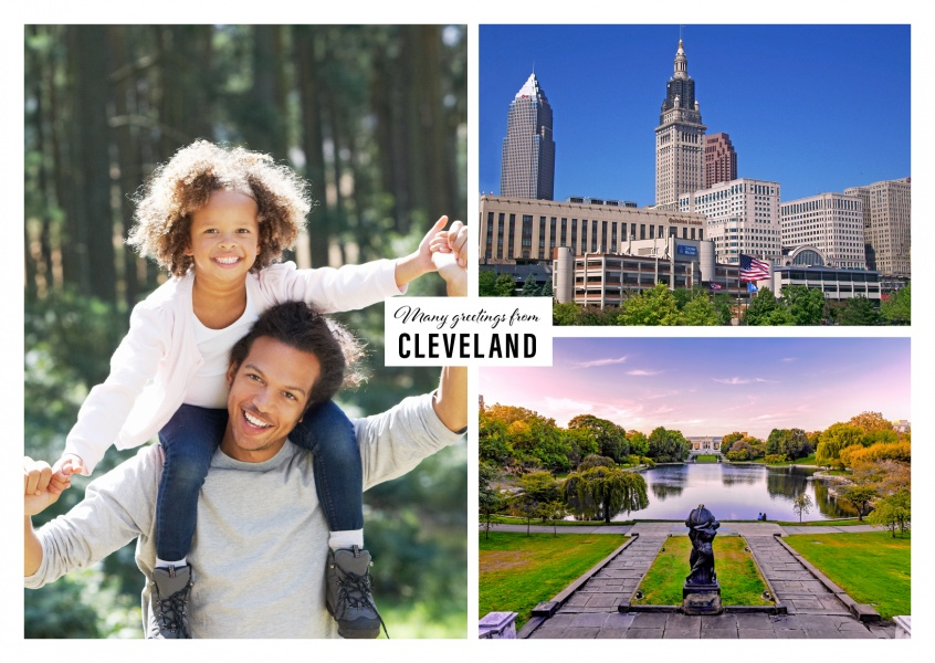 two photos of Cleveland's skyline