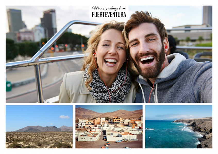 three photos of Fuerteventura with beach and volcano landscape