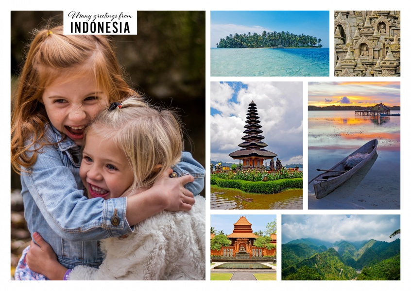 six photos with different temples of Indonesia