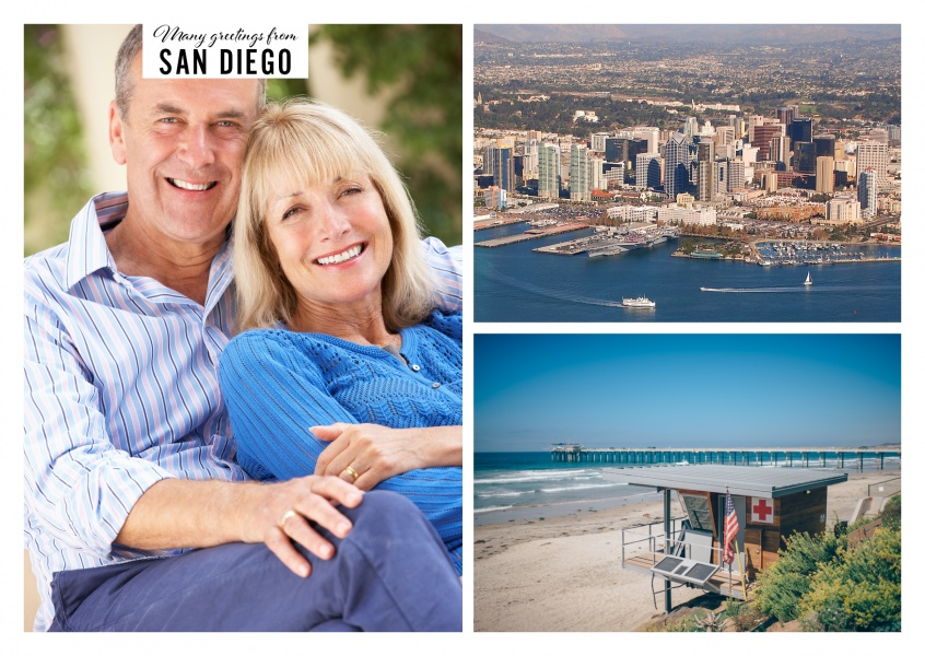 two photos of San Diego's beach landscape