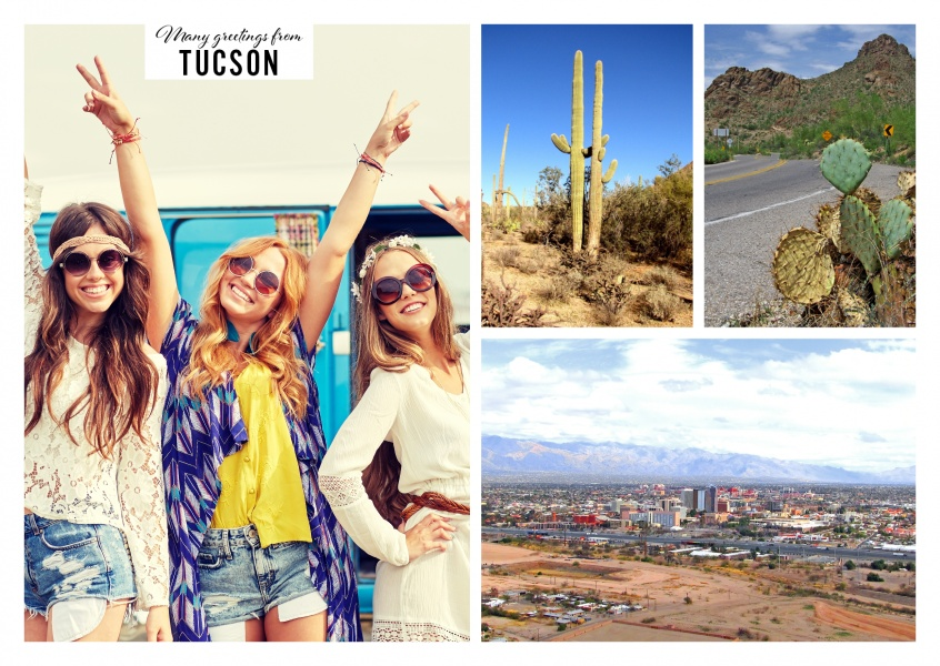 Three photos of Tucsons skyline and desert landscape