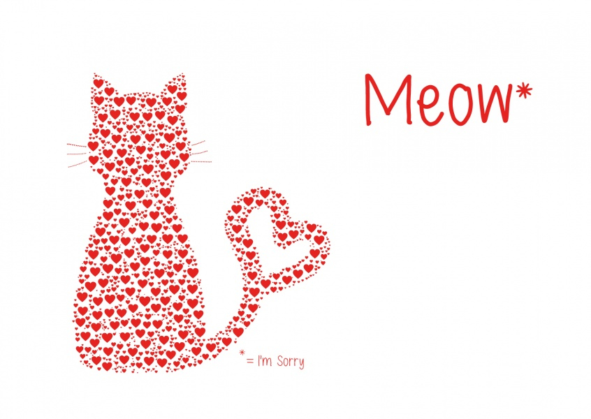 I'm sorry- Cat illustration with red hearts on white ground