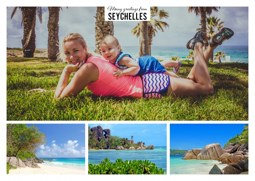 Three beach pictures of the Seychelles with view to the ocean and blue sky