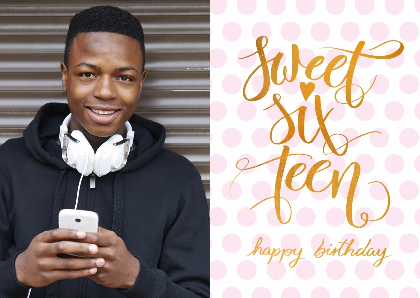 Sweet sixteen-happy birthday card with pink dots in background and handlettering