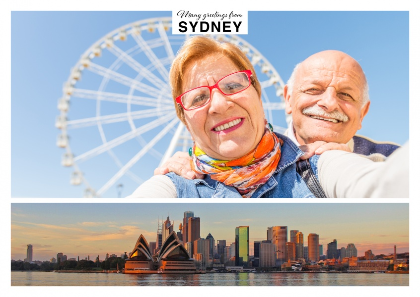 Beautiful sydney in sunset vacation greetings send