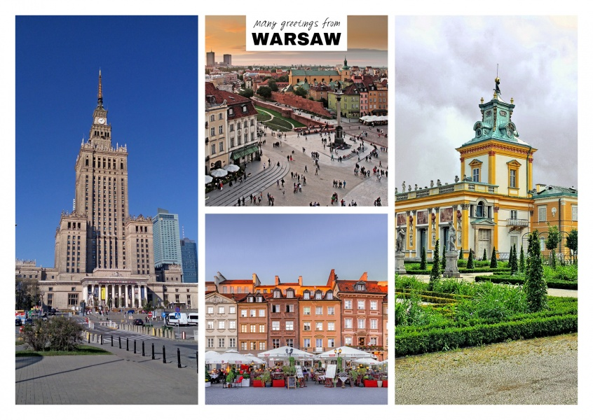 Warsaw old town, Palace of Culture and Wilanow palace