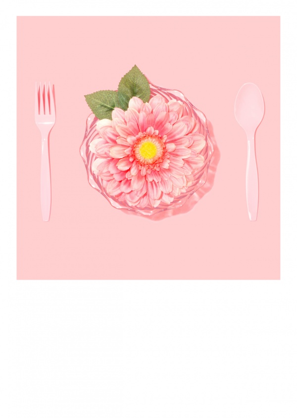 cutlery and background in rose with blossom
