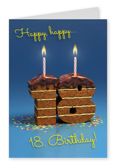 Photo of an 18th birthday chocolate cake with blue background–mypostcard